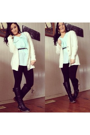 Charlotte Russe cardigan - PacSun boots - Charlotte Russe leggings