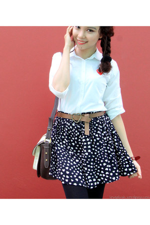 navy hearts skirt Sheinside skirt - white white shirt Comme des Garcons shirt