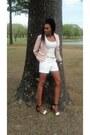Light-pink-peplum-cynthia-rowley-blazer-ivory-white-shorts-shorts