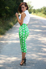Chartreuse-pencil-asos-skirt-black-ankle-strap-zara-sandals