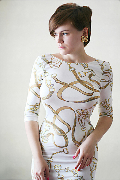 white asos dress - gold vintage Givenchy earrings