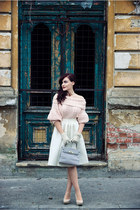 light pink H&M sweater - white midi H&M skirt