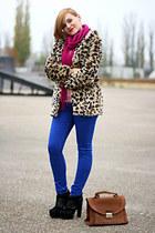 tawny leopard print OASAP coat - black glitter Topshop boots