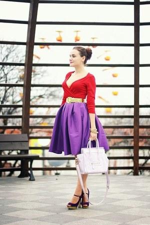purple Sheinside skirt - light purple OASAP bag - red thrifted H&M top