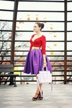 purple Sheinside skirt - light purple OASAP bag - red thrifted H&M top