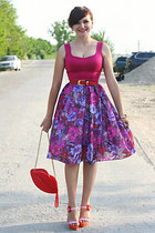 magenta floral print handmade skirt - red lip shape OASAP bag