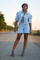 light blue vintage suit - sky blue strappy River Island shoes