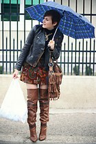 brown Stradivarius boots - brown vintage Etro skirt