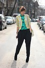 Black-newlook-boots-green-vintage-shirt-yellow-vintage-versace-vest
