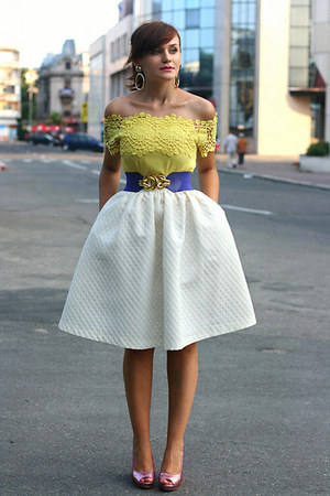 white midi H&M skirt - bubble gum glitter H&M shoes - yellow OASAP top