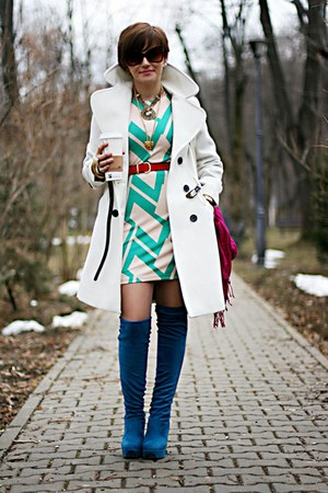 white Primark dress - blue no name boots - white Topshop coat