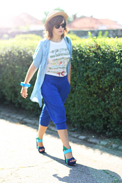 light blue denim Zara shirt - blue harem Bershka pants - teal suede asos sandals