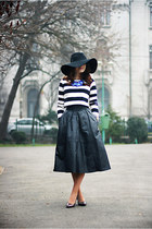 black floppy H&M hat - white cropped OASAP top - black leather vintage skirt