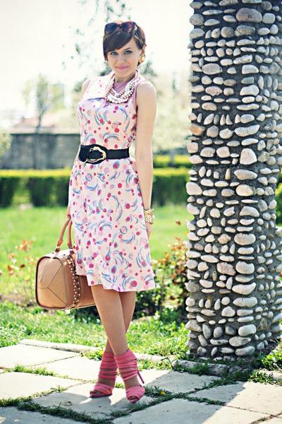 pink thrifted dress - bubble gum Zara shoes - burnt orange Zara bag