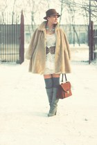 white New Yorker dress - cream vintage dress - heather gray Stradivarius boots -
