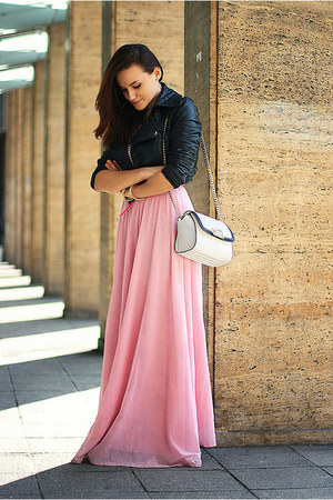 bubble gum handmade skirt - black cropped asos jacket