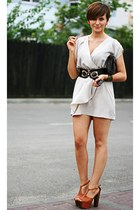 heather gray H&M dress - burnt orange Jessica Simpson sandals