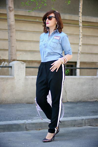 black glittery H&M shoes - light purple OASAP bag - black Topshop pants