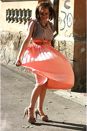 nude Zara shoes - peach pleated vintage skirt - River Island top