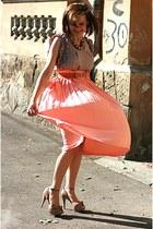 nude Zara shoes - peach pleated vintage skirt - River Island top