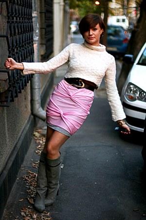 bubble gum handmade skirt - heather gray Stradivarius boots