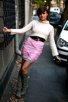 bubble gum handmade skirt - heather gray Stradivarius boots