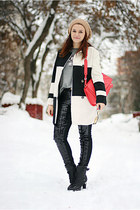 black ankle OASAP boots - white checkered OASAP coat - red Zara bag