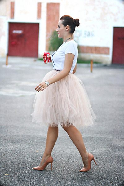 eggshell tulle handmade skirt - nude pumps Zara shoes