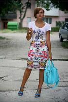 white printed Primark skirt - light blue OASAP bag