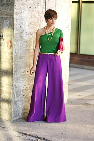 green Stradivarius top - hot pink asos purse - purple River Island pants