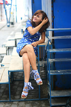 blue mini vintage dress - white H&M shoes