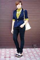 navy vintage christian dior blazer - black jeans - mustard vintage shirt