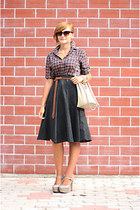 black vintage handmade skirt - silver Topshop shoes