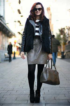 heather gray leather vintage skirt - black glitter Topshop shoes
