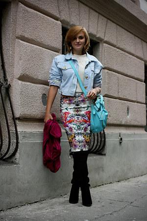 sky blue OASAP bag - black Zara boots - light blue vintage escada jacket