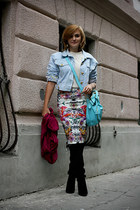 sky blue OASAP bag - black Zara boots - light blue vintage escada jacket