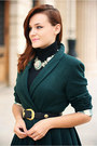 Black-forever-21-shoes-forest-green-handmade-coat-white-zara-necklace