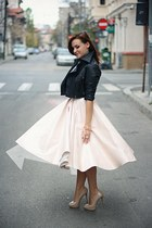 light pink midi H&M skirt - nude Zara shoes - black cropped asos jacket