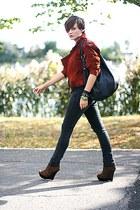 brown leopard print asos shoes - ruby red suede vintage jacket