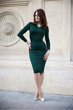 gold OASAP watch - forest green midi Zara dress - white statement Zara necklace