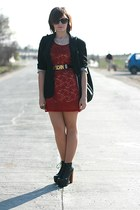 black Jeffrey Campbell shoes - red lace next dress - black vintage Moschino belt