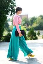 yellow belt - vintage blouse - chiffon Topshop pants