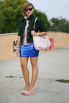 blue sequins skirt - light pink striped River Island shirt