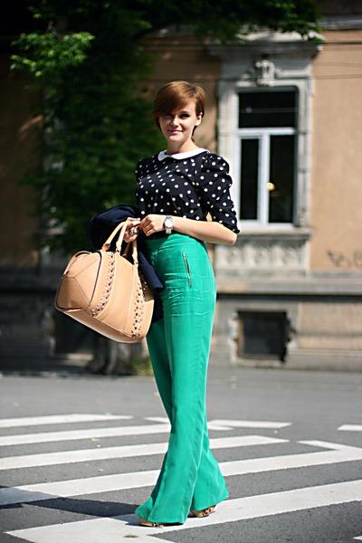 black polka dot Primark top - camel Zara bag - green Zara pants