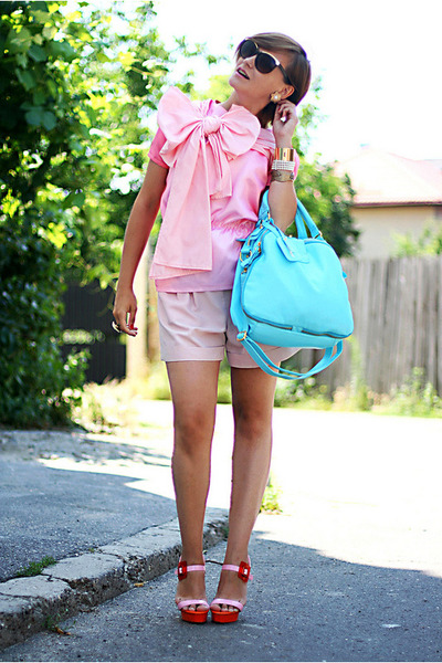 bubble gum handmade top - hot pink River Island shoes - turquoise blue OASAP bag