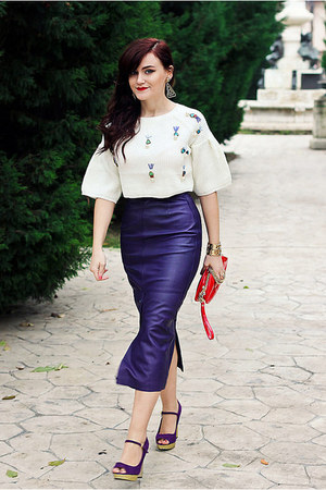 violet leather vintage skirt - white cropped Sheinside sweater