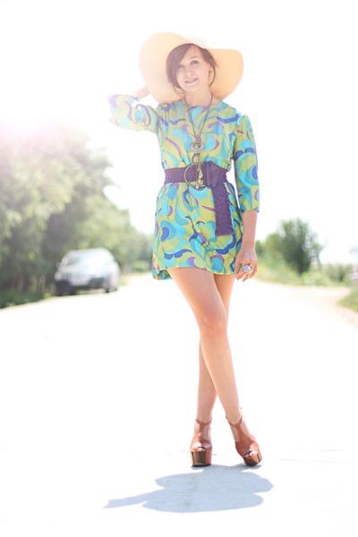 burnt orange Jessica Simpson shoes - turquoise blue silk vintage dress - random
