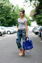 blue gold detailing OASAP bag - blue boyfriend Zara jeans