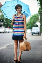 blue striped Zara dress - black glitter River Island shoes