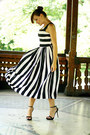 Black-striped-oasap-dress-black-ankle-strap-zara-sandals